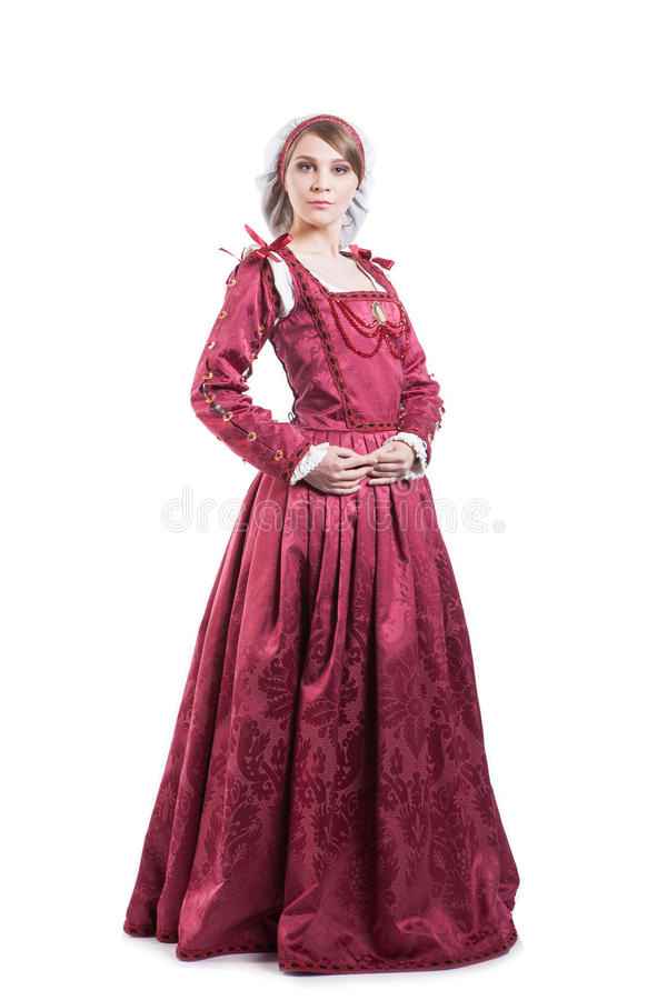 Medieval times lady dressed in elegant retro royalty free stock image