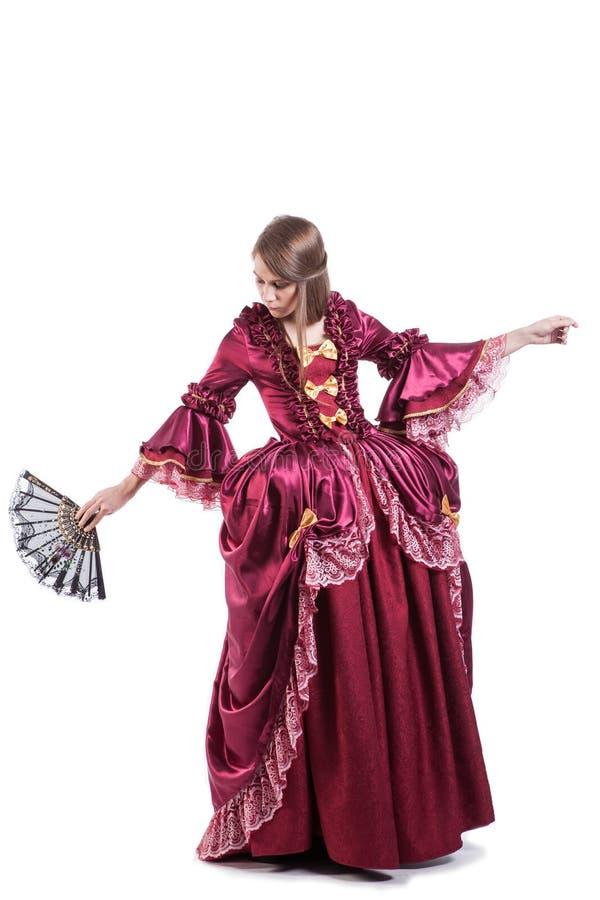 Medieval times lady dressed in elegant retro stock image