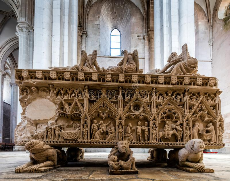 Medieval tomb of King Pedro I of Portugal stock image