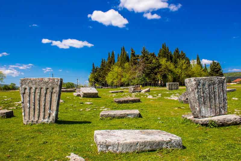 Medieval tombstones in Bosnia and Herzegovina. Medieval tombstones or stećci in Gacko, in Bosnia and Herzegovina stock image