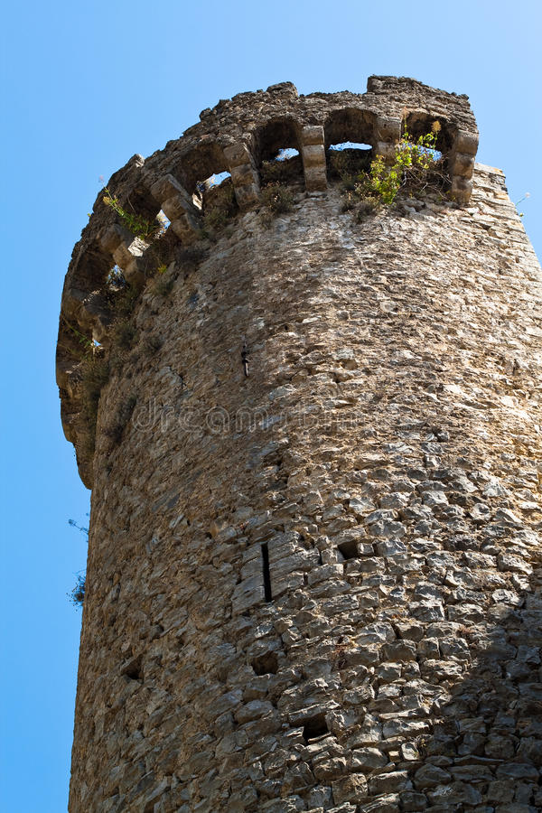Medieval tower. Made of stones royalty free stock image