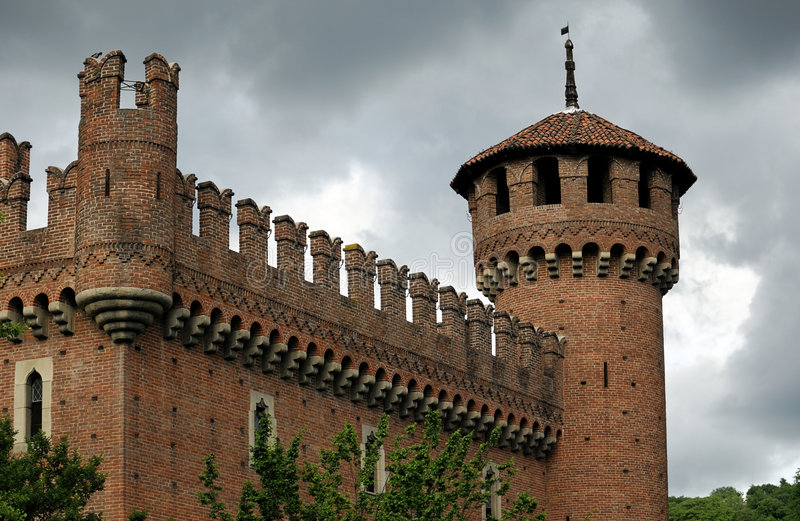 Medieval tower. Medieval castle and tower built as imitation of real medieval castle for exhibition stock photo
