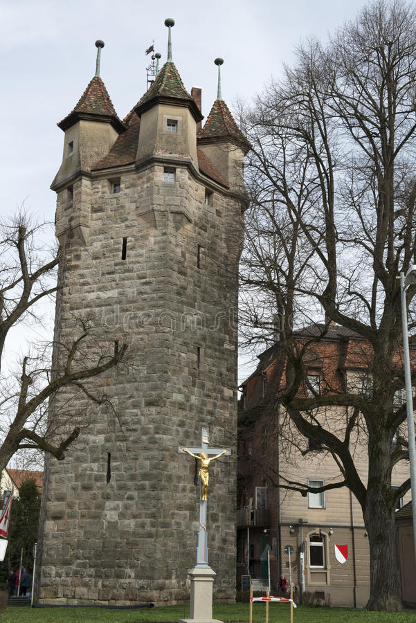 Medieval Tower of the City Wall, Schwaebisch-Gmuend, Germany stock photo