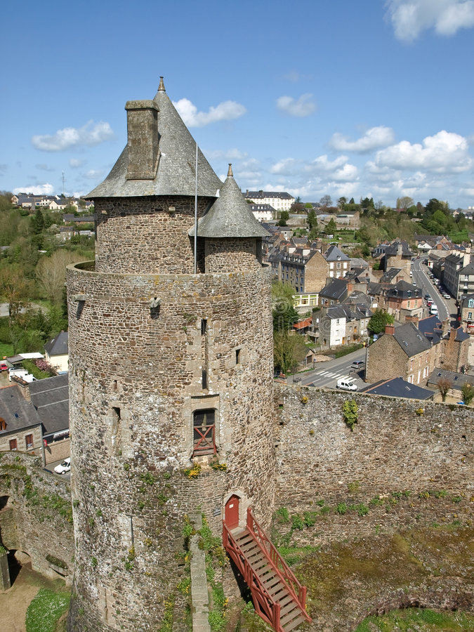Medieval tower in french castle stock photo