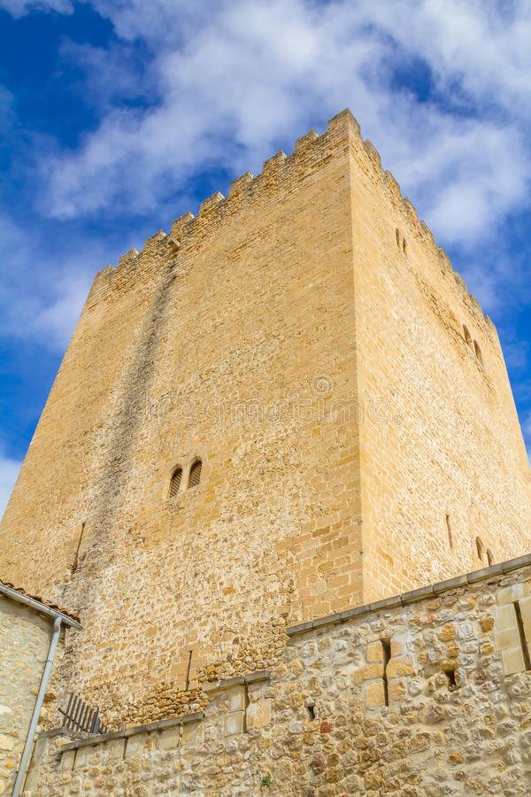 Medieval tower. High angle view of a medieval tower in Medina de Pomar, Burgos, Spain stock photo