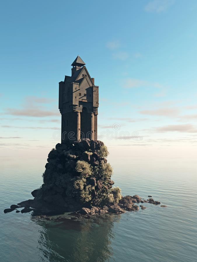 Medieval Tower House Castle on a Rocky Island vector illustration