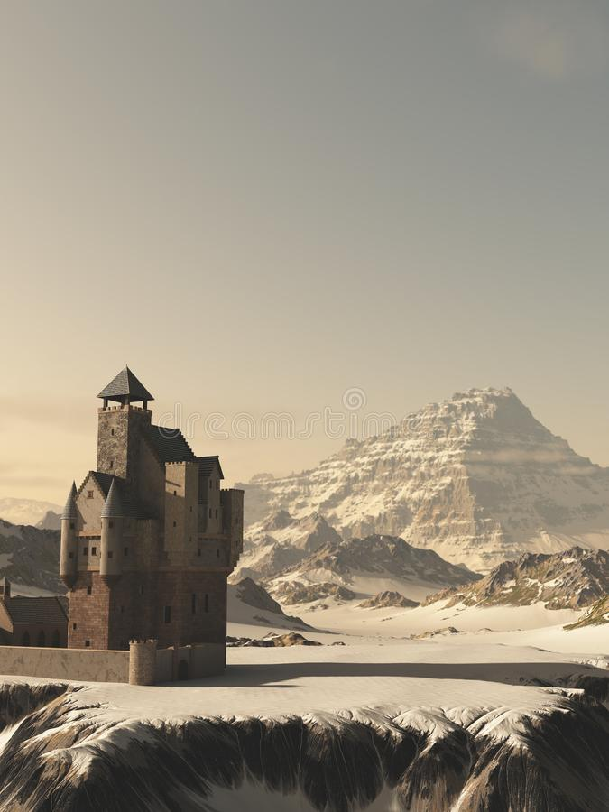 Medieval Tower House Castle in Winter Mountains vector illustration