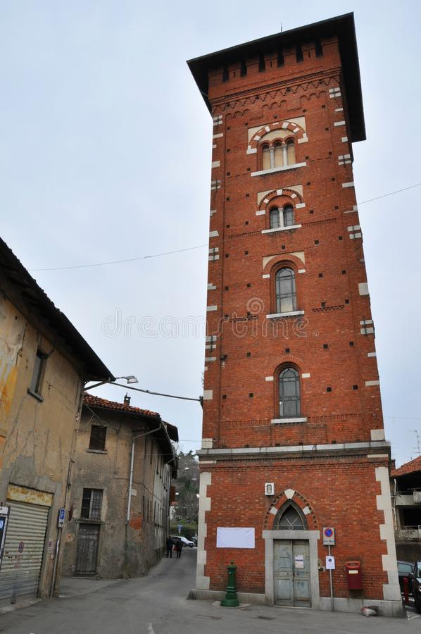 Lomazzo tower and village como stock photography