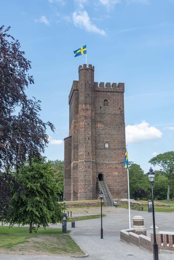 Medieval tower Karnan in Helsingborg Sweden. In summer royalty free stock photo