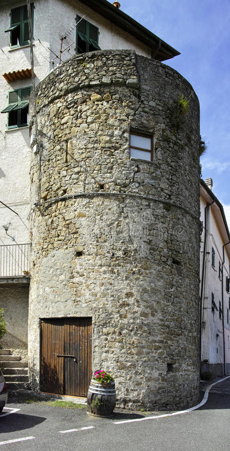 Medieval tower. In a little village called follo alto near la spezia stock photo