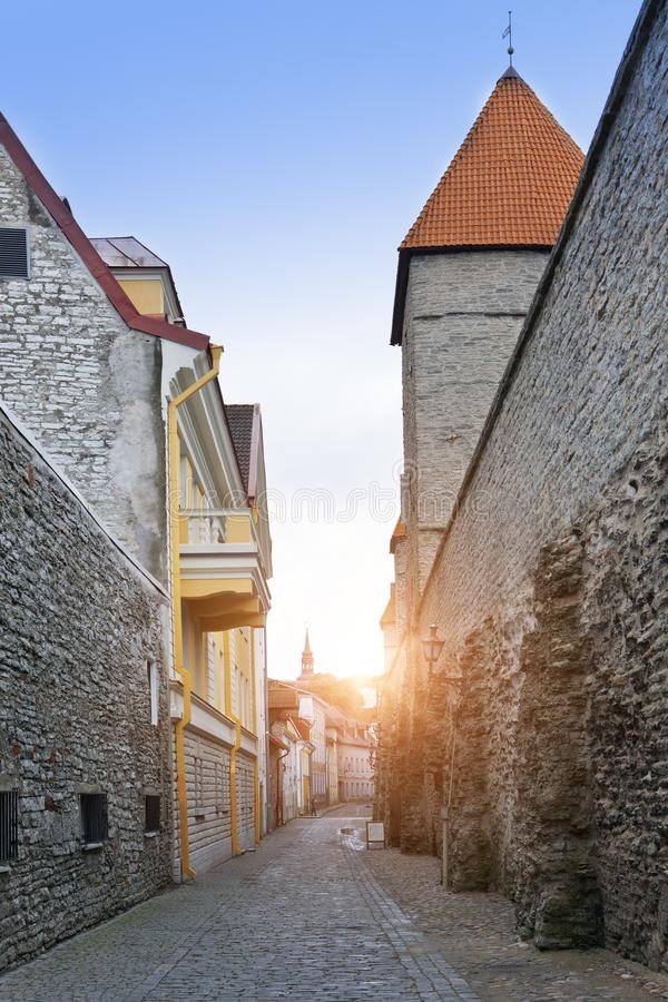 Medieval tower, part of the city wall, Tallinn, Estonia.  royalty free stock images