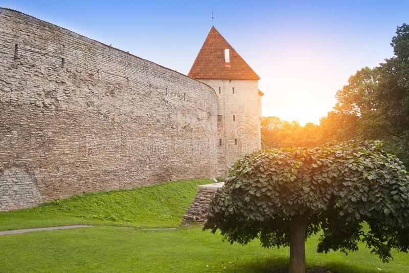 Medieval tower, part of the city wall, Tallinn, Estonia stock image
