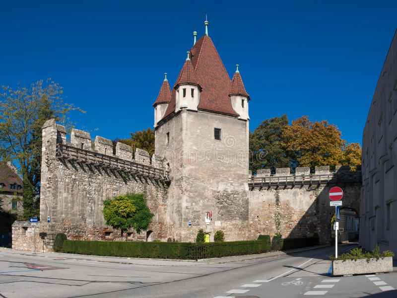 Medieval Tower. The 'Reckturm' (meaning the 'Tower of Tortures') is a medieval tower from the early 13th century in the city of Wiener Neustadt in Austria stock photos