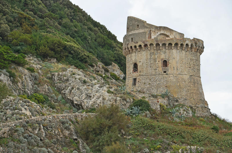 Medieval tower. On the rock royalty free stock photos
