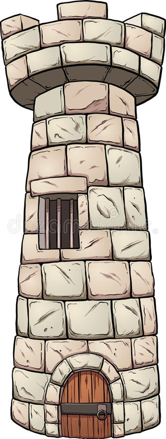 Medieval tower. Medieval rock tower. Vector clip art illustration with simple gradients. All in a single layer stock illustration