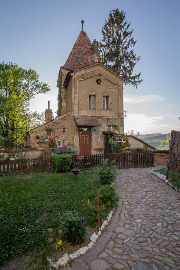 Medieval tower in Sighisoara stock photos