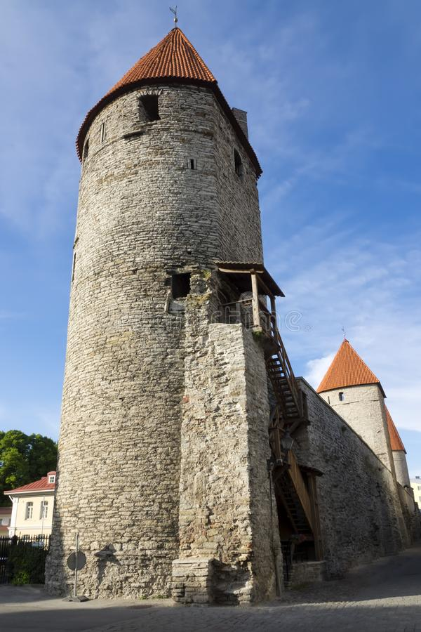 Medieval tower. Tallinn, Estonia. In sunny day royalty free stock photo