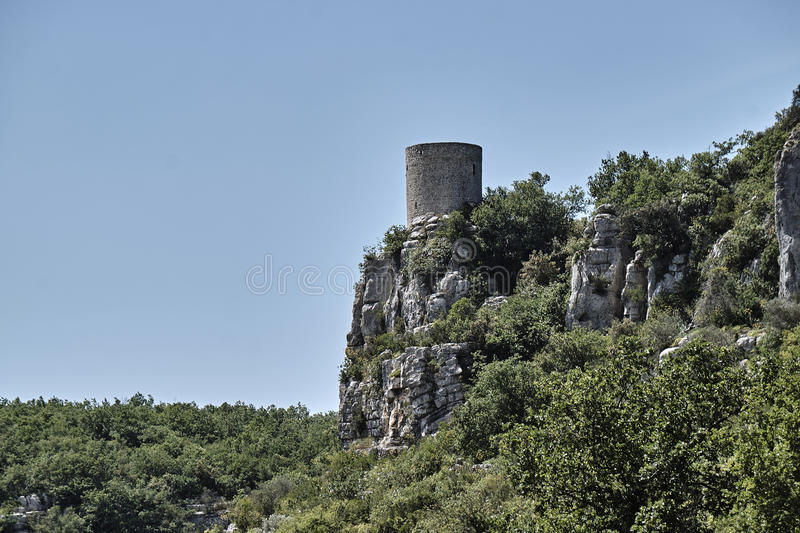 Medieval tower in town Balazuc. In France stock photography