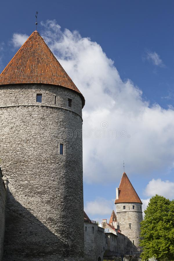 Medieval towers - part of the city wall. Tallinn, Estonia royalty free stock image