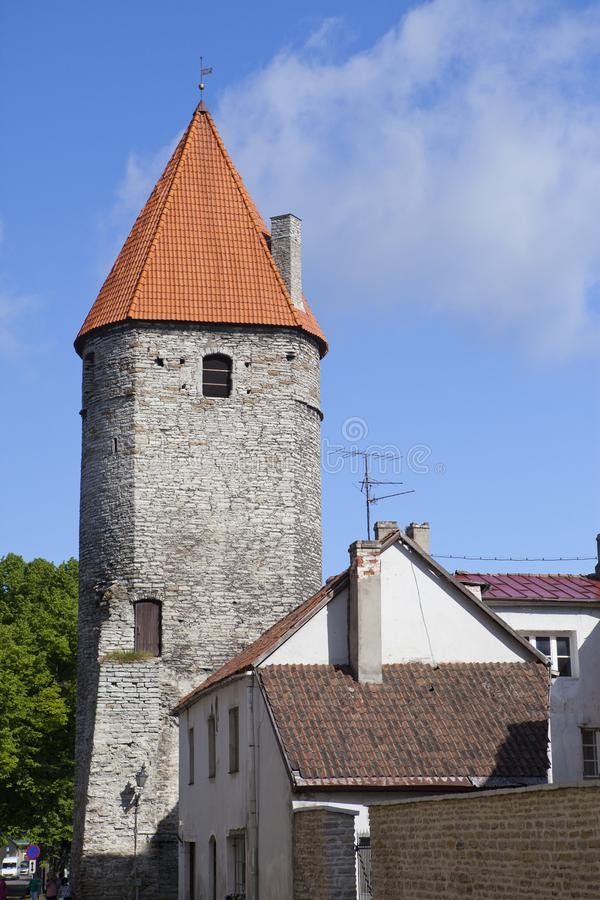 Medieval towers - part of the city wall. Tallinn, Estonia royalty free stock images