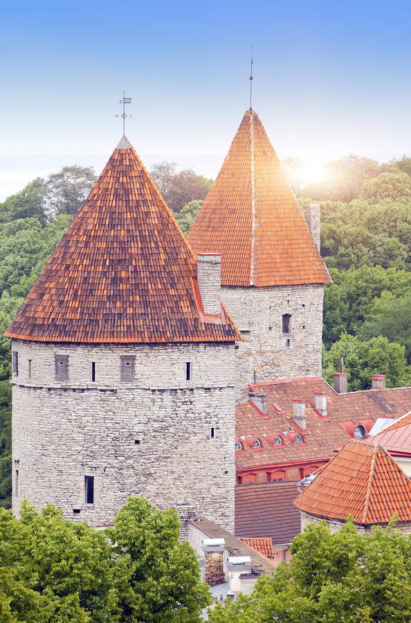 Medieval towers - part of the city wall. Tallinn, Estonia stock image