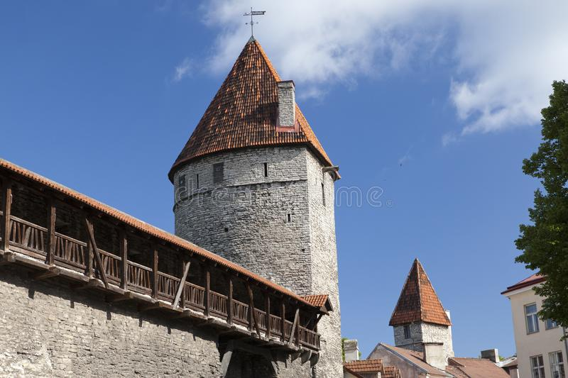 Medieval towers - part of the city wall. Tallinn, Estonia royalty free stock photos