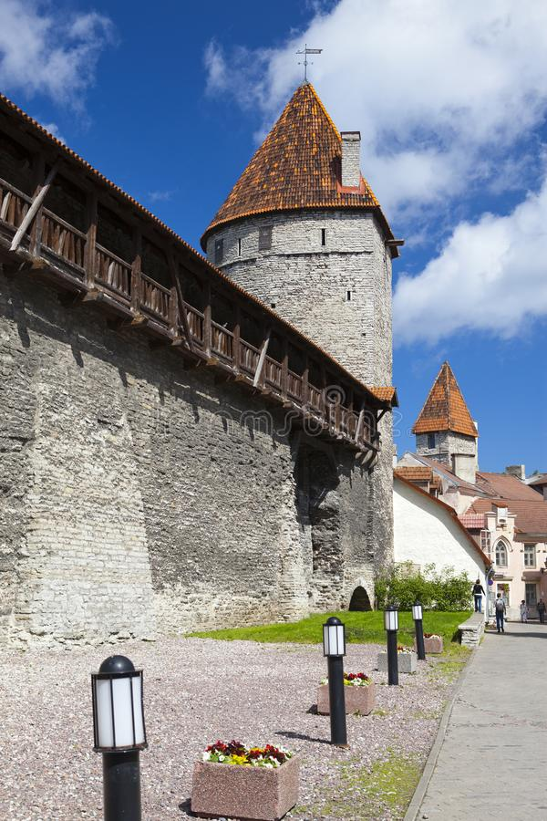 Medieval towers - part of the city wall. Tallinn, Estonia stock photo