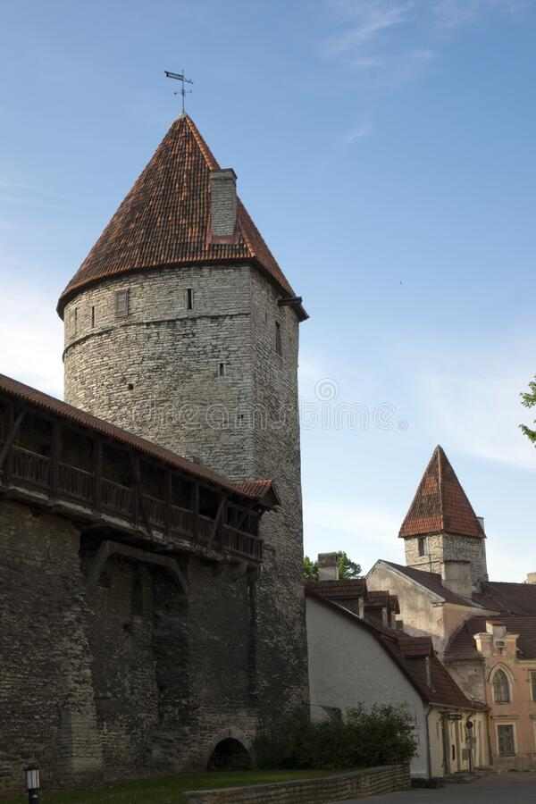 Medieval towers - part of the city wall. Tallinn, Estonia.  stock images