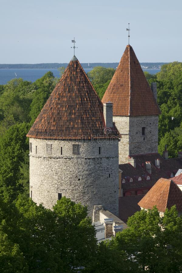 Medieval towers - part of the city wall. Tallinn, Estonia.  stock photography