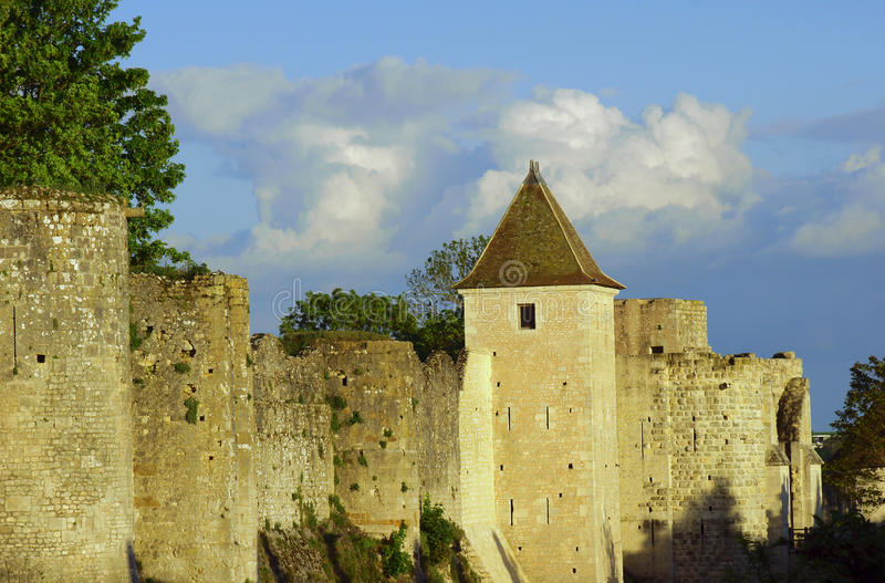 The medieval towers and ramparts. In Provins, France royalty free stock photo
