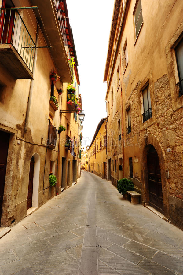 Medieval Town. Narrow Alley With Old Buildings In Typical Italian Medieval Town stock photo