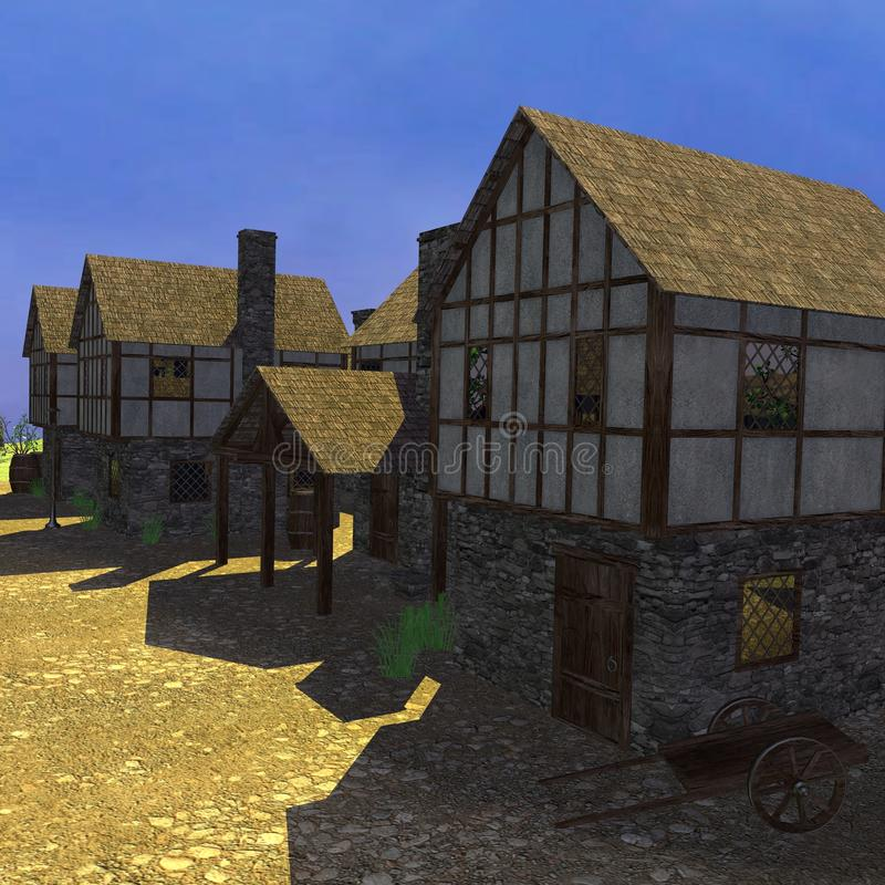 Medieval town. 3d render of medieval town royalty free illustration