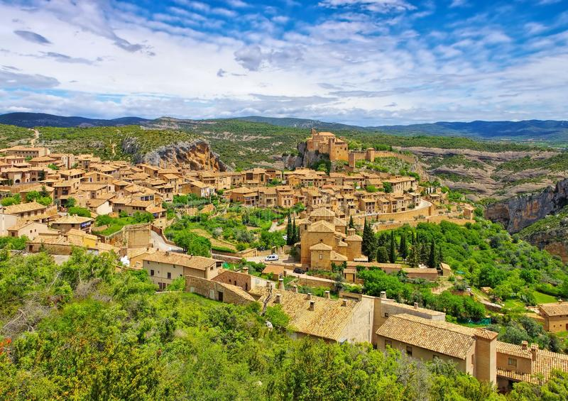 The medieval town of Alquezar, Spain. View of the old medieval town of Alquezar, Aragon, Spain royalty free stock photography