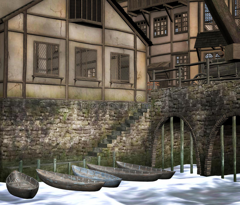 Medieval town with boats. A 3D rendered image of a medieval town with boats stock illustration