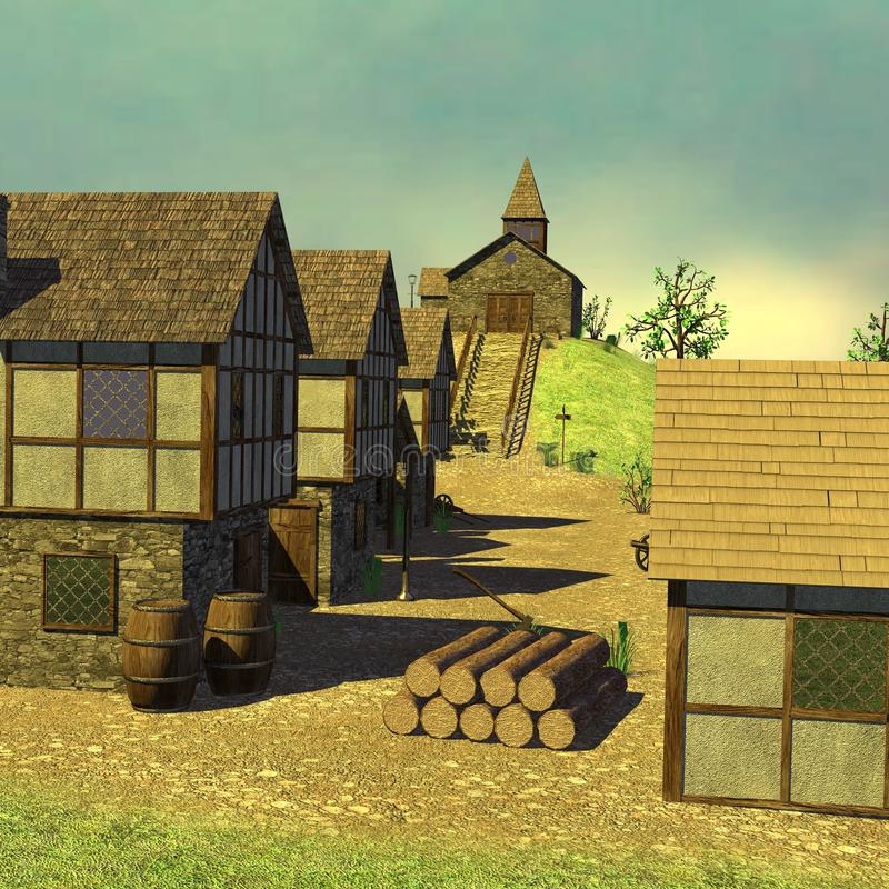 Medieval town - church on hill. 3d render of medieval town - church on hill vector illustration