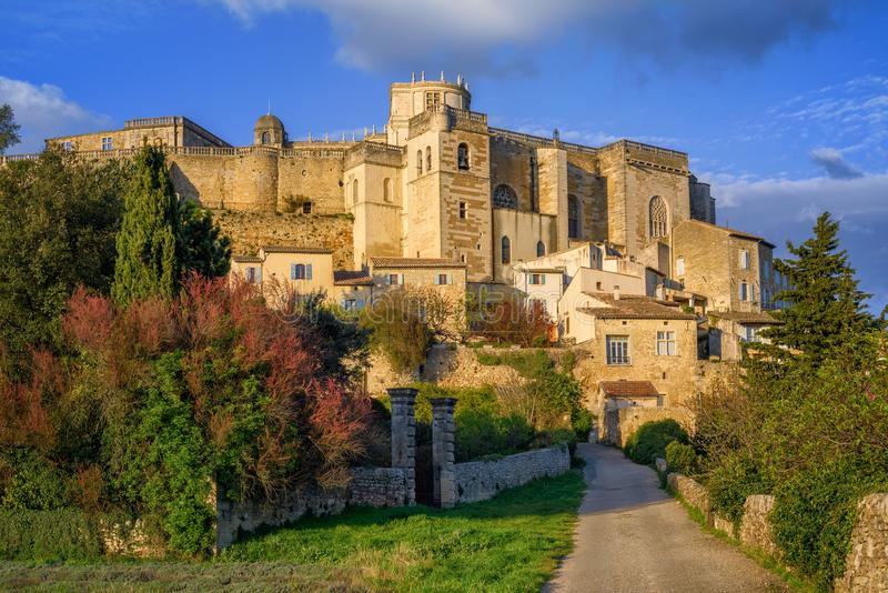 Medieval town Grignan in Drome provencal, France. Medieval town Grignan with famous renaissance palace in Drome provencal, France royalty free stock image