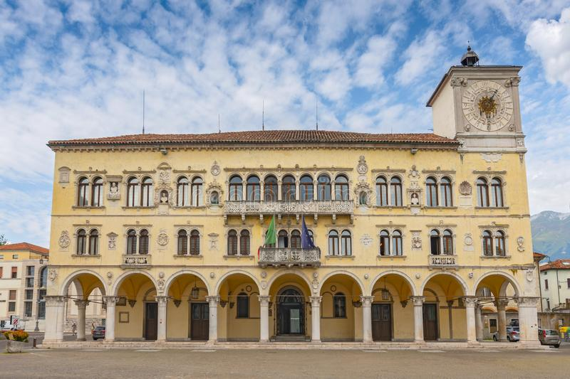 Medieval town hall at the historic centre of Belluno, Italy.  royalty free stock photography
