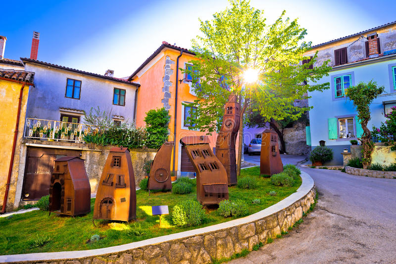 Medieval town of Kastav colorful street. At sunset view, Kvarner bay, Croatia royalty free stock photography