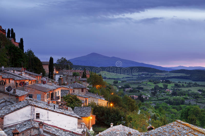 The medieval town of Montepulciano. In Italy, at dusk stock photography
