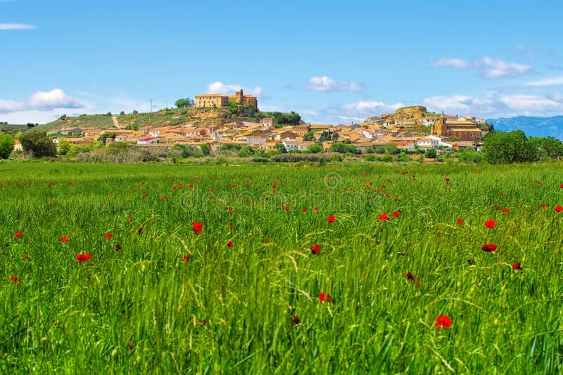 The medieval town of Ortilla in Aragon stock image