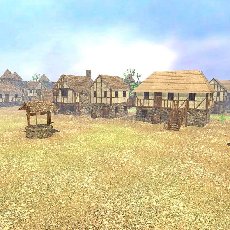 Medieval town render. 3d render of medieval town courtyard stock illustration