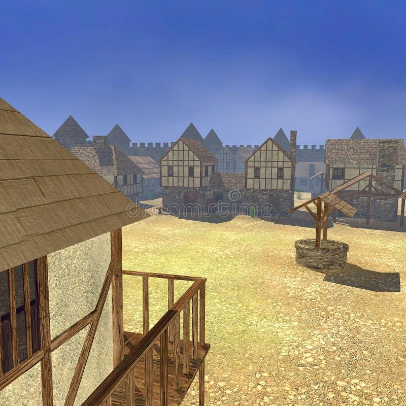 Medieval town scene. 3d render of medieval town scene vector illustration