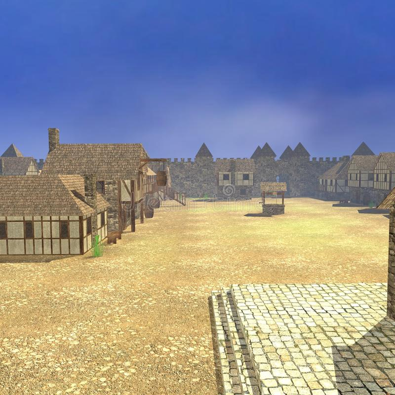 Medieval town - square. 3d render of medieval town - square royalty free illustration