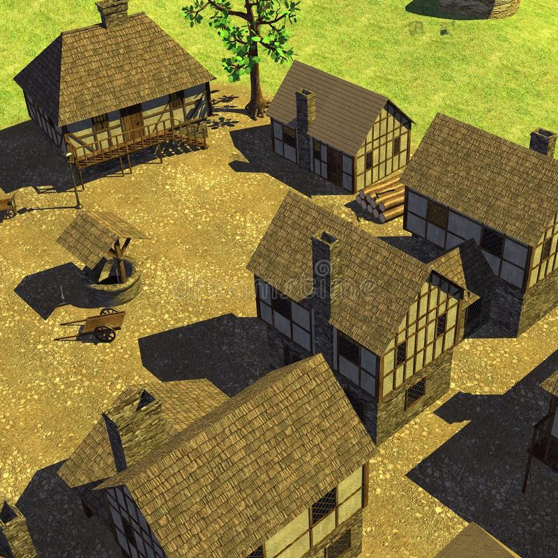 Medieval town - square with well. 3d render of medieval town - square with well royalty free illustration