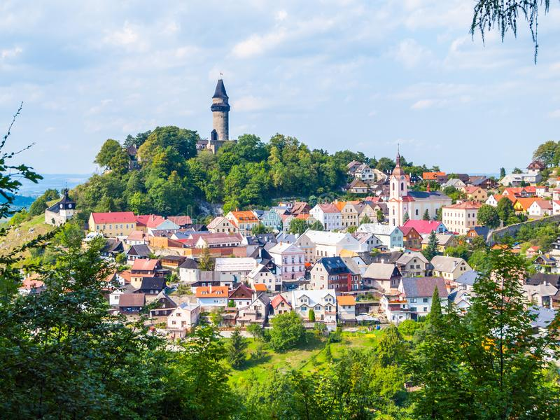 Medieval town of Stramberk with gothic castle and Truba Tower, Moravia, Czech Republic.  royalty free stock photo