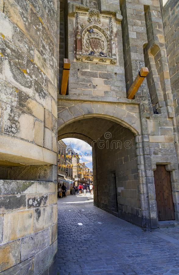 Medieval walls and churches of Guerande, France. Medieval town walls, turrets and churches of Guerande, France stock images