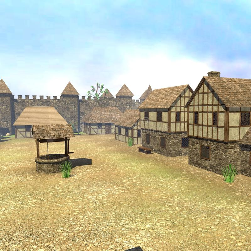 Medieval town9. 3d render of medieval town9 royalty free illustration