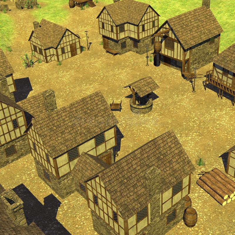 Medieval townsquare. 3d render of medieval townsquare vector illustration