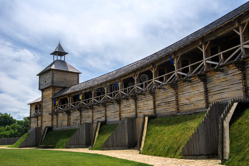 Medieval Ukrainian wooden fortress stock photo