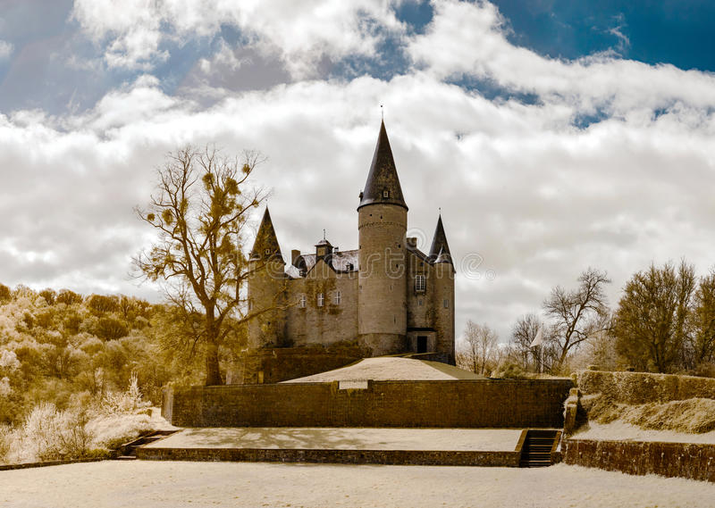 Medieval Veves castle near Namur, infrared view royalty free stock images